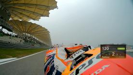 Relive Pedrosa's pole setting lap at the Sepang International Circuit, complete with telemetry data.