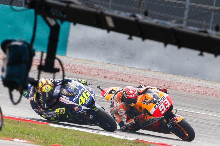 Valentino Rossi, Marc Marquez, Movistar Yamaha MotoGP, Repsol Honda MotoGP, Malaysian GP Race