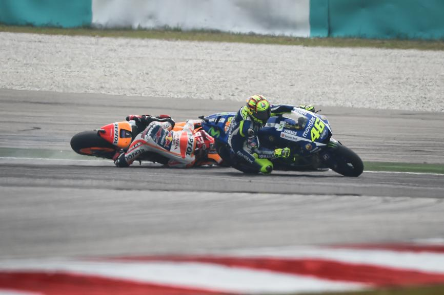 Rossi, Marquez, Movistar Yamaha MotoGP, Repsol Honda Team, Malaysian GP Race © Copyright Milagro