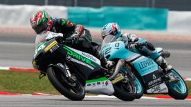 Revoyez les plus belles manoeuvres des catégories Moto2™ et Moto3™ du #MalaysianGP.  1. Philipp Oettl (Moto3) - 128 points 2. Livio Loi (Moto3) - 113 points 3. Andrea Migno (Moto3)  - 100 points 4. Ana Carrasco (Moto3) - 97 points 5. Jesko Raffin (Moto2) - 97 points