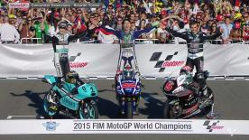 The Moto3, Moto2 & MotoGP World Champions gather to celebrate their victory in Valencia.