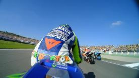 Watch Rossi's race start & first lap as he begins to try & chase down Lorenzo in Valencia.