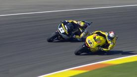 Revoyez les plus belles manoeuvres des catégories Moto2™ et Moto3™ du #ValenciaGP.  1. Philipp Oettl (Moto3) - 132 points 2. Livio Loi (Moto3) - 121 points 3. Ana Carrasco (Moto3) - 104 points 4. Andrea Migno (Moto3)  - 104 points 5. Jesko Raffin (Moto2) - 100 points