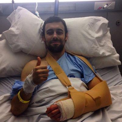 Thumbs up for @eugenelaverty who's had successful surgery after the