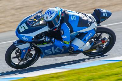 Fenati remains top in Moto3™ as Bulega tops final day