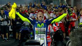 In trepidante attesa per l'inizio del MotoGP™ 2016 in Qatar? Guarda la grande rimonta di Rossi nel GP del 2015.
