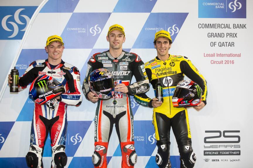 Jonas Folger, Sam Lowes & Alex Rins, Grand Prix of Qatar