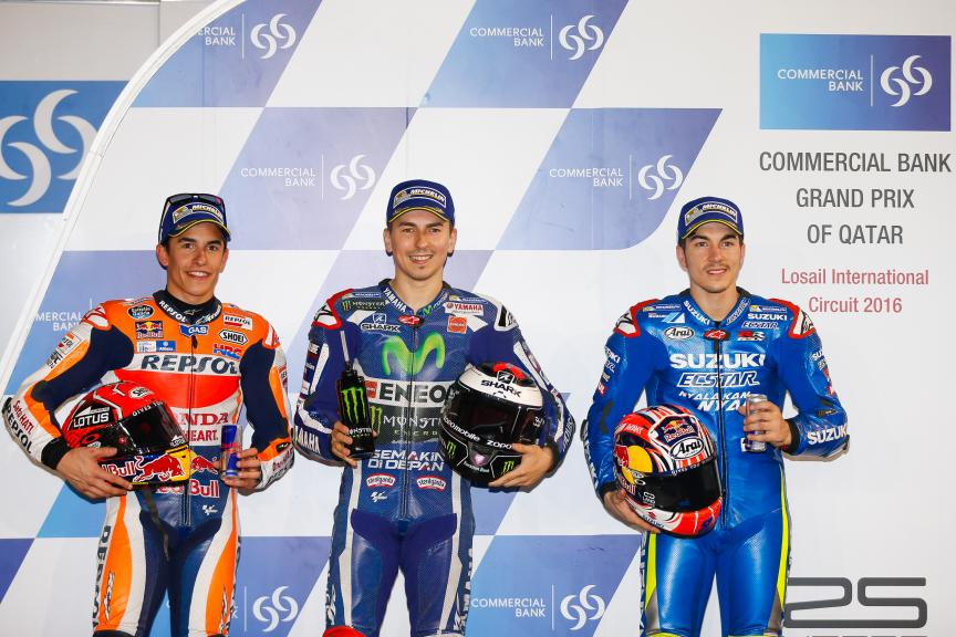 Jorge Lorenzo, Marc Marquez and Maverick Viñales, Grand Prix of Qatar