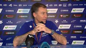 Lin Jarvis, direttore Yamaha Factory Racing, parla durante la conferenza stampa in Qatar del futuro di Rossi, con la casa di Iwata fino al 2018.
