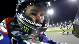 Relive Lorenzo's pole setting lap at the Losail Circuit Sports Club, complete with telemetry data.