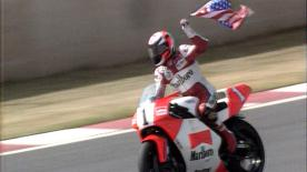 The first year of the collaboration between the FIM, IRTA, MSMA & Dorna, saw Wayne Rainey lift the 1992 500cc title.