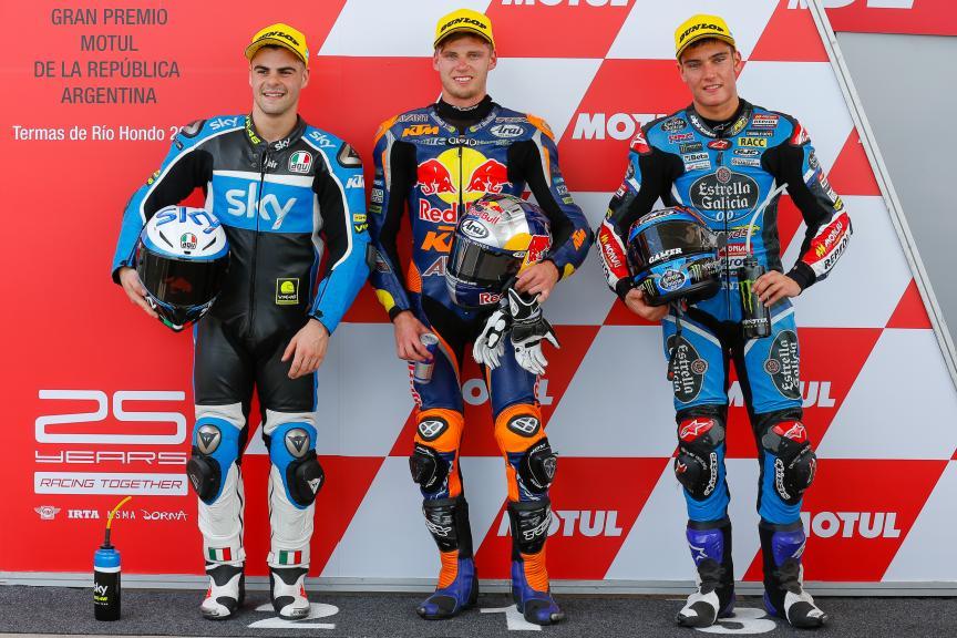 Brad Binder Red Bull KTM Ajo, Romano Fenati SKY Racing Team VR46, Jorge Navarro SPA Estrella Galicia 0,0, Moto3, Gran Premio de la República Argentina