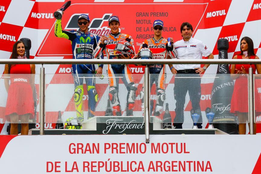 Marc Marquez, Valentino Rossi, Dani Pedroza, Gran Premio Motul de la República Argentina