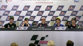 The fastest riders from the qualifying sessions talk to the press about the results.