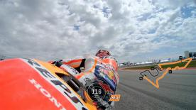 Relive Marquez's pole setting lap at the Circuit Of The Americas, complete with telemetry data.