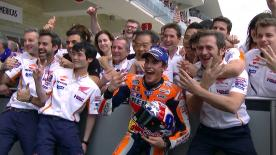 Marquez carved out an impressive lead to take victory at his beloved Circuit Of The Americas.