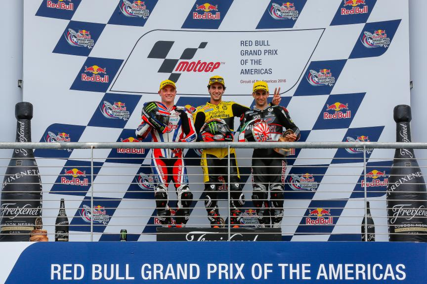 Alex Rins, Sam Lowes, Johann Zarco, Podium Moto2, Red Bull Grand Prix of The Americas