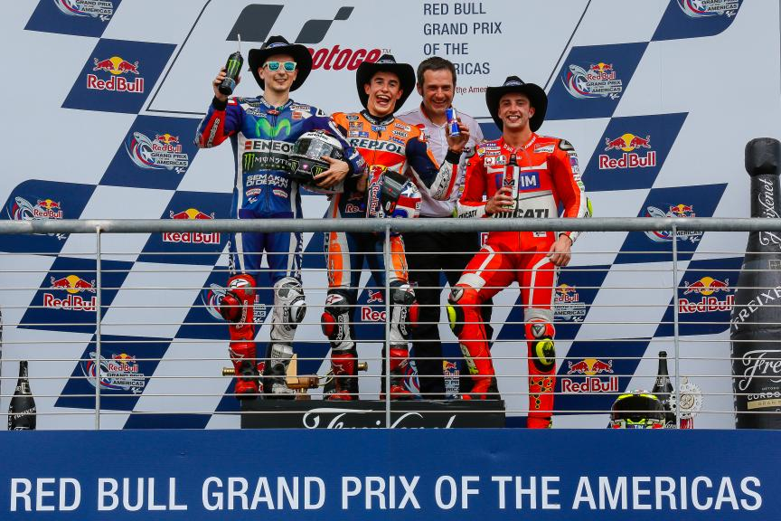 Marc Marquez, Jorge Lorenzo, Andrea Iannone, Podium MotoGP, Red Bull Grand Prix of The Americas