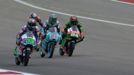 Revoyez les plus belles manoeuvres des catégories Moto2™ et Moto3™ au #AmericasGP.  1. John McPhee (Moto3) - 24 points 2. Dominique Aegerter (Moto2) - 23 points 3. Maria Herera (Moto3) - 21 points 4. Luca Marini (Moto2)  - 19 points 5. Hafizh Syahrin (Moto2) - 18 points