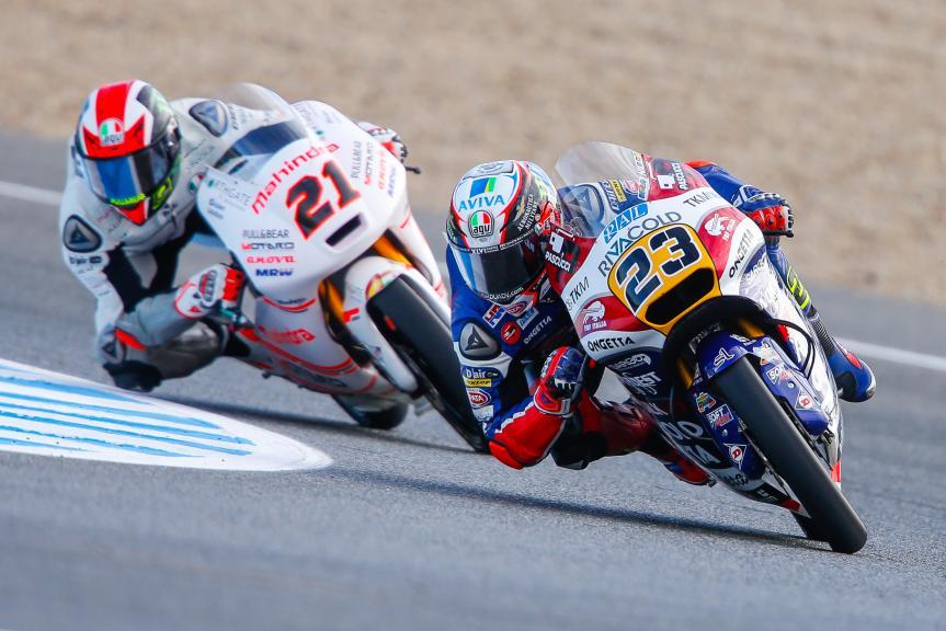 Francesco Bagnaia, ASPAR Mahindra Team Moto3, Niccolò Antonelli, Ongetta-Rivacold, Gran Premio Red Bull de España
