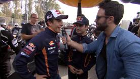Marc Marquez and Dani Pedrosa waved off 1,500 bikers from the Circuito De Jerez as they rode into the town centre en Thursday.