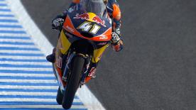 Brad Binder topped the combined timesheets on Friday at the Spanish GP ahead of Nicolo Bulega and Romano Fenati.