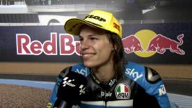 Nicolò Bulega è secondo allo #SpanishGP. Partito dalla pole, conquista il primo podio in Moto3™.