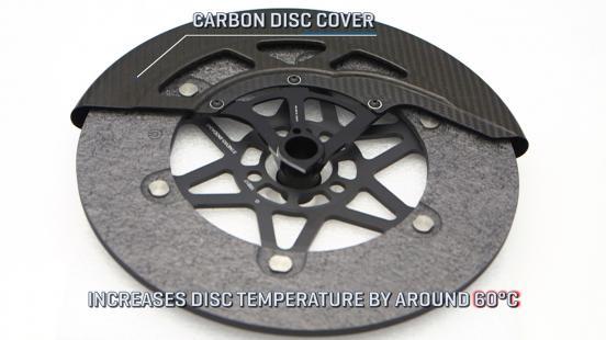 特派員のディラン・グレイが、カーボン製のブレーキディスクカバーの重要性を説明。