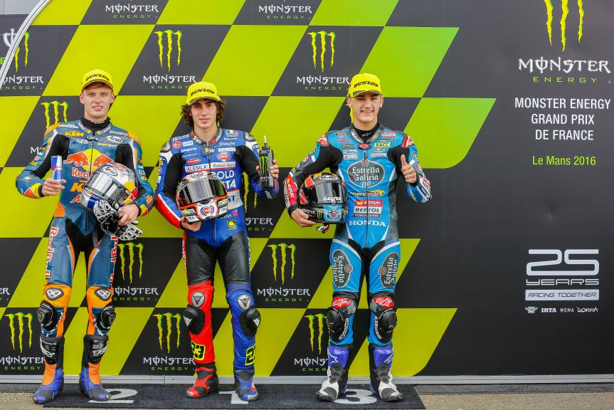 Niccolò Antonelli, Brad Binder, Aron Canet, Monster Energy Grand Prix de France