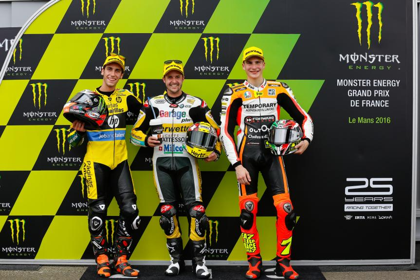 Thomas Luthi, Alex Rins, Lorenzo Baldassarri, Monster Energy Grand Prix de France