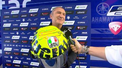Aldo Drudi explica el casco 'Mugiallo' de Rossi