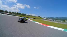 Relive Rossi's pole setting lap at Mugello, complete with telemetry data.