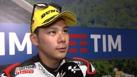 Takaaki Nakagami is on the front row for the start of the Italian GP, starting in 2nd place behind Sam Lowes.