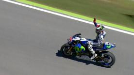 Jorge Lorenzo took a thrilling race victory by just 0.019s from Marc Marquez as Valentino Rossi retires from the Italian GP.