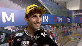 Johann Zarco claimed victory in a dramatic and unusual Moto2 race at Mugello.