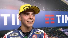 The Italian rider finishes second in a tough race and scores his first points of the Championship.