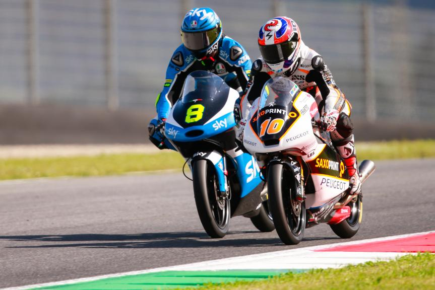 Nicolo Bulega y Alexis Masbou, SKY Racing Team VR46 y Peugeot MC Saxoprint,Test Mugello