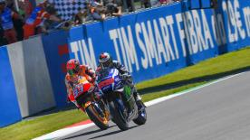 Jorge Lorenzo emerged victorious after an incredible final lap battle in Mugello, beating Marc Marquez to the line by just 0.019s.