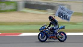 Jorge Navarro took his maiden Moto3™ victory at the Catalan GP ahead of championship leader Brad Binder and Enea Bastianini.