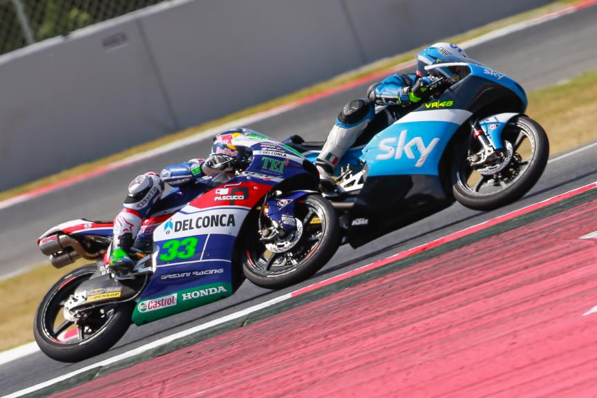Enea Bastianini, Gresini Racing Moto3 and Romano Fenati, SKY Racing Team VR46, Gran Premi Monster Energy de Catalunya