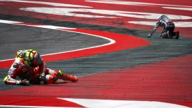 Relive the moment Andrea Iannone and Jorge Lorenzo crashed out of the Catalan GP.
