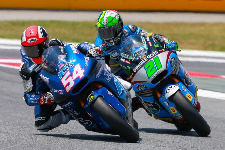 Mattia Pasini, Italtrans Racing Team and Franco Morbidelli, Estrella Galicia 0,0 Marc VDS, Gran Premi Monster Energy de Catalunya