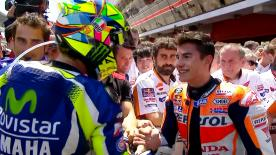 After an incredible battle over the final laps of the Catalan GP Valentino Rossi and Marc Marquez appear to have put the past behind them.