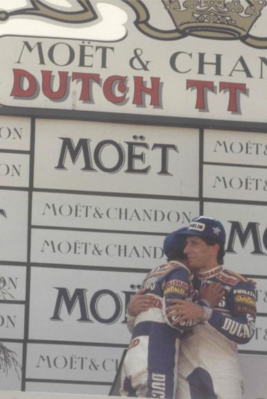Jorge Martínez y Manuel Champi Herreros. GP de Holanda de 80cc. 1986. Assen