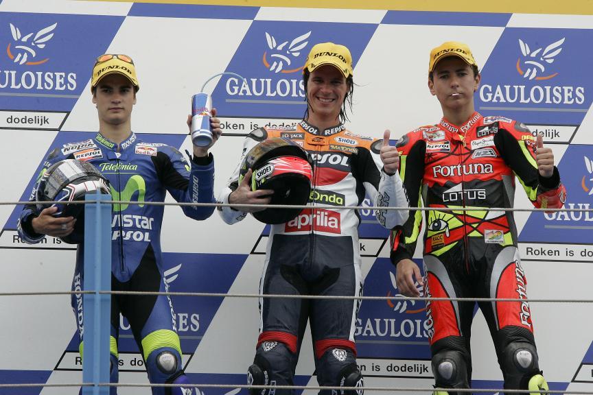 Podio 250cc GP de Holanda 2005 Sebastián Porto, Dani Pedrosa Jorge Lorenzo