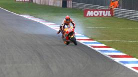 During Saturday's FP3 session at the Dutch GP Repsol Honda's Marc Marquez had a huge moment, but somehow managed to stay upright.