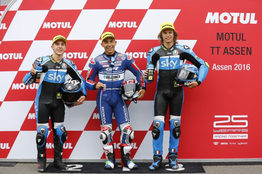 Enea Bastianini, Andrea Migno, Nicolo Bulega, Motul TT Assen
