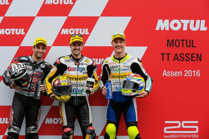 Thomas Luthi, Johann Zarco, Dominique Aegerter, Motul TT Assen