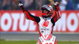 Takaaki Nakagami enjoyed his maiden GP victory in his 111th race after the rain brought out the red flag, ahead of Zarco & Morbidelli.