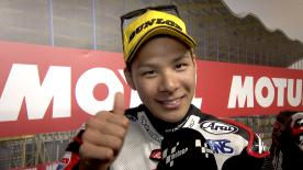 The IDEMITSU Honda Team Asia rider gets the first ever victory of his career.